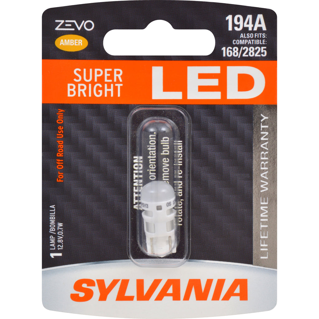 SYLVANIA ZEVO 194 T10 W5W Amber LED Automotive Bulb