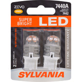 2-PK SYLVANIA ZEVO 7440 T20 Amber LED Automotive Bulb