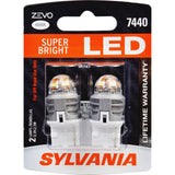 2-PK SYLVANIA ZEVO 7440 T20 White LED Automotive Bulb