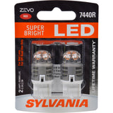 2-PK SYLVANIA ZEVO 7440 T20 Red LED Automotive Bulb