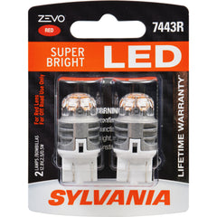 2-PK SYLVANIA ZEVO 7443 T20 Red LED Automotive Bulb