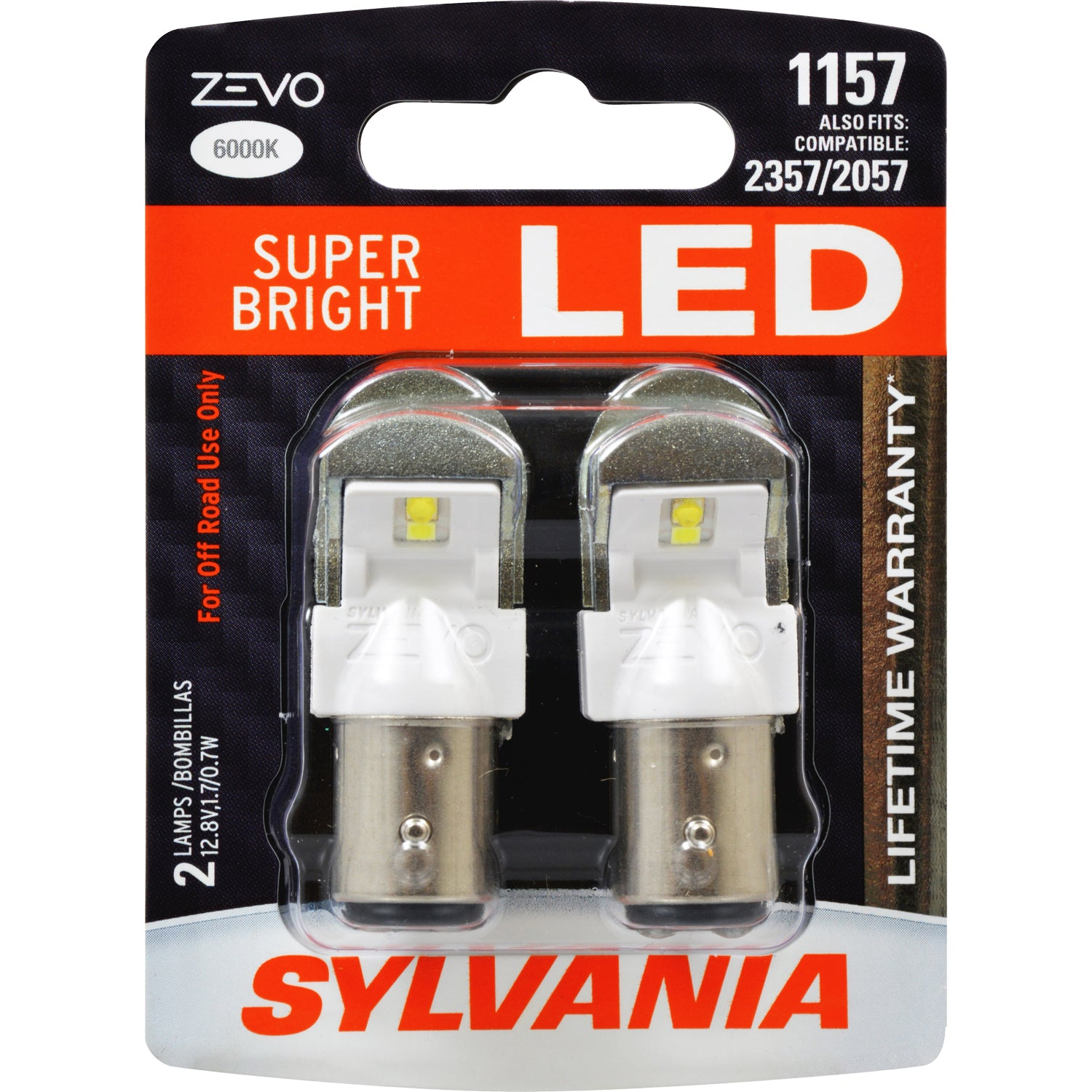 2-PK SYLVANIA 1157 ZEVO LED 6000K Super Bright Automotive Bulb - fits 2357, 2057