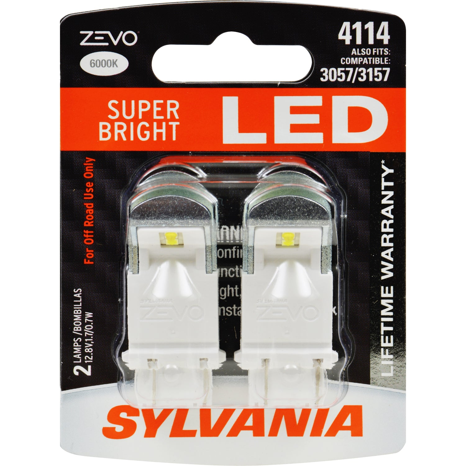 2-PK SYLVANIA ZEVO 4114 White LED Automotive Bulb