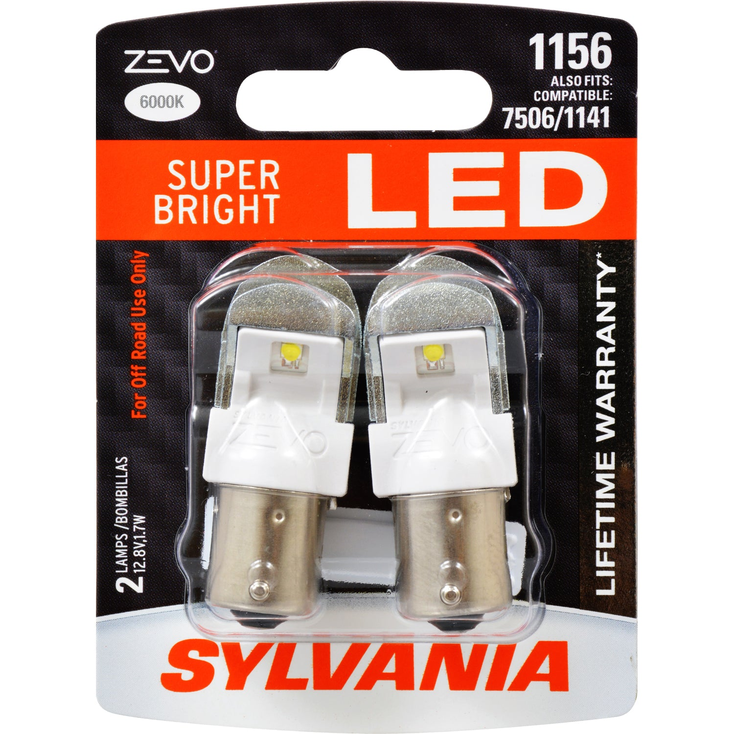 2-PK SYLVANIA 1156 ZEVO LED Super Bright 6000K Automotive Bulb - fits 7506, 1141