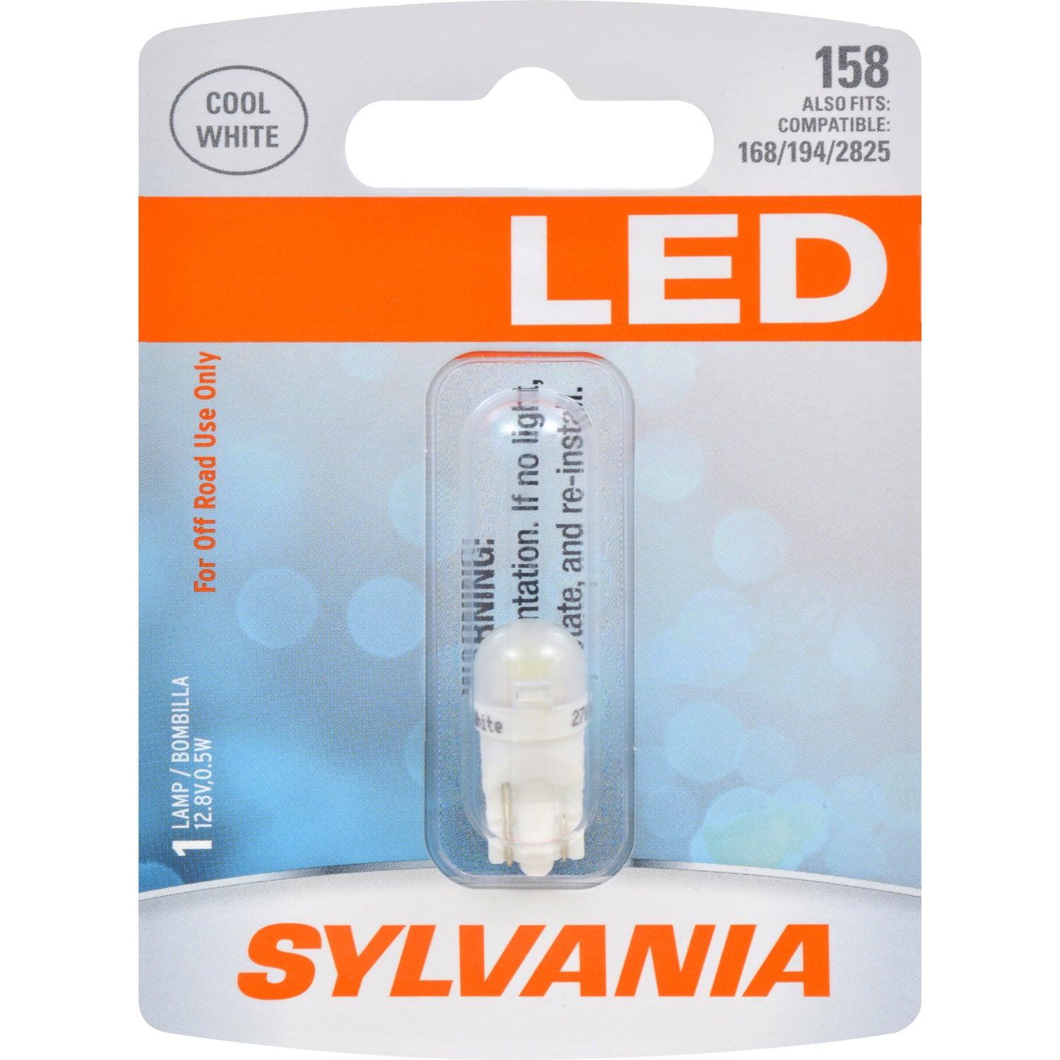 SYLVANIA LED 158 W5W Cool White Automotive Bulb - also fits 168, 194, 2825