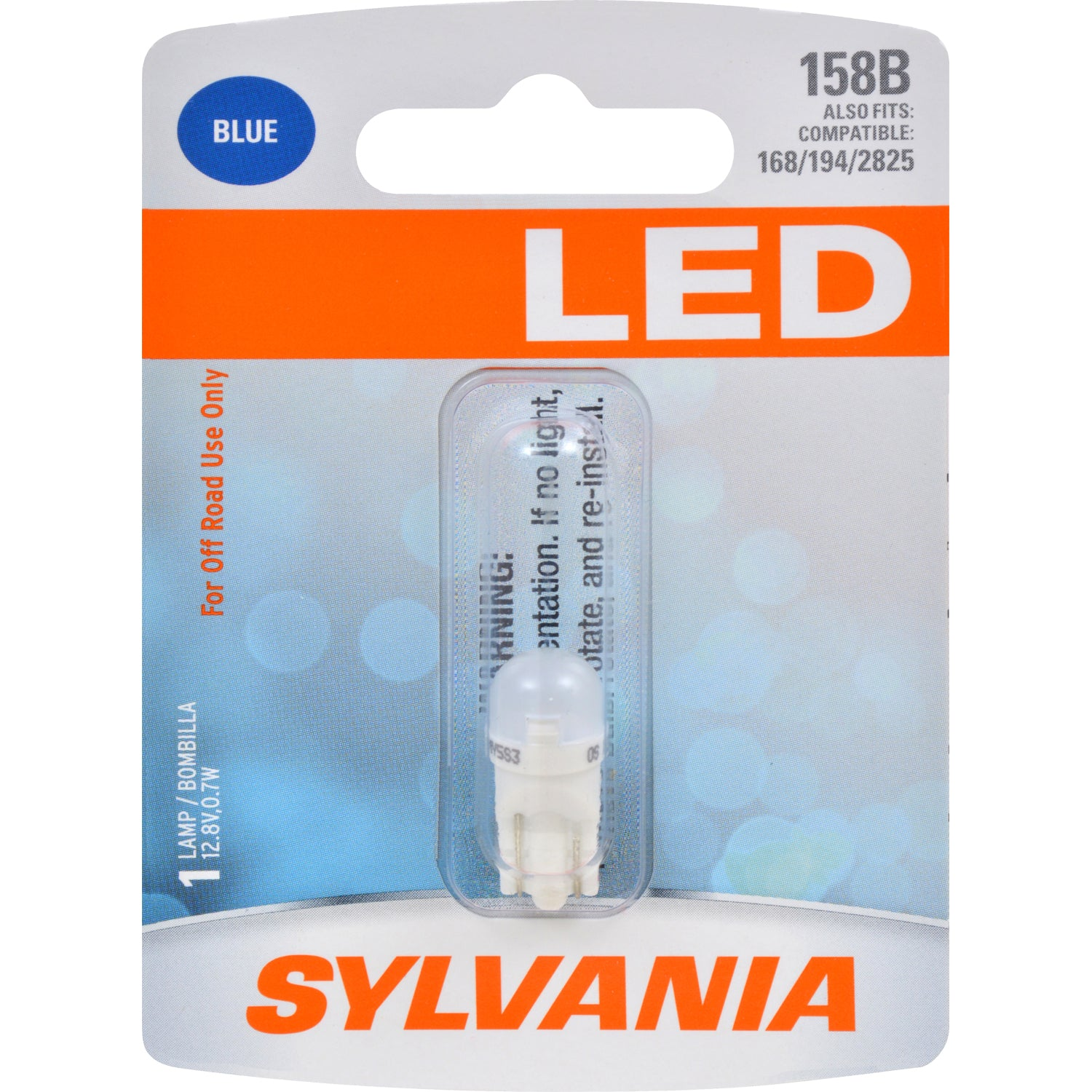 SYLVANIA 158 T10 W5W Blue LED Automotive Bulb - also fits 168, 194, 2825