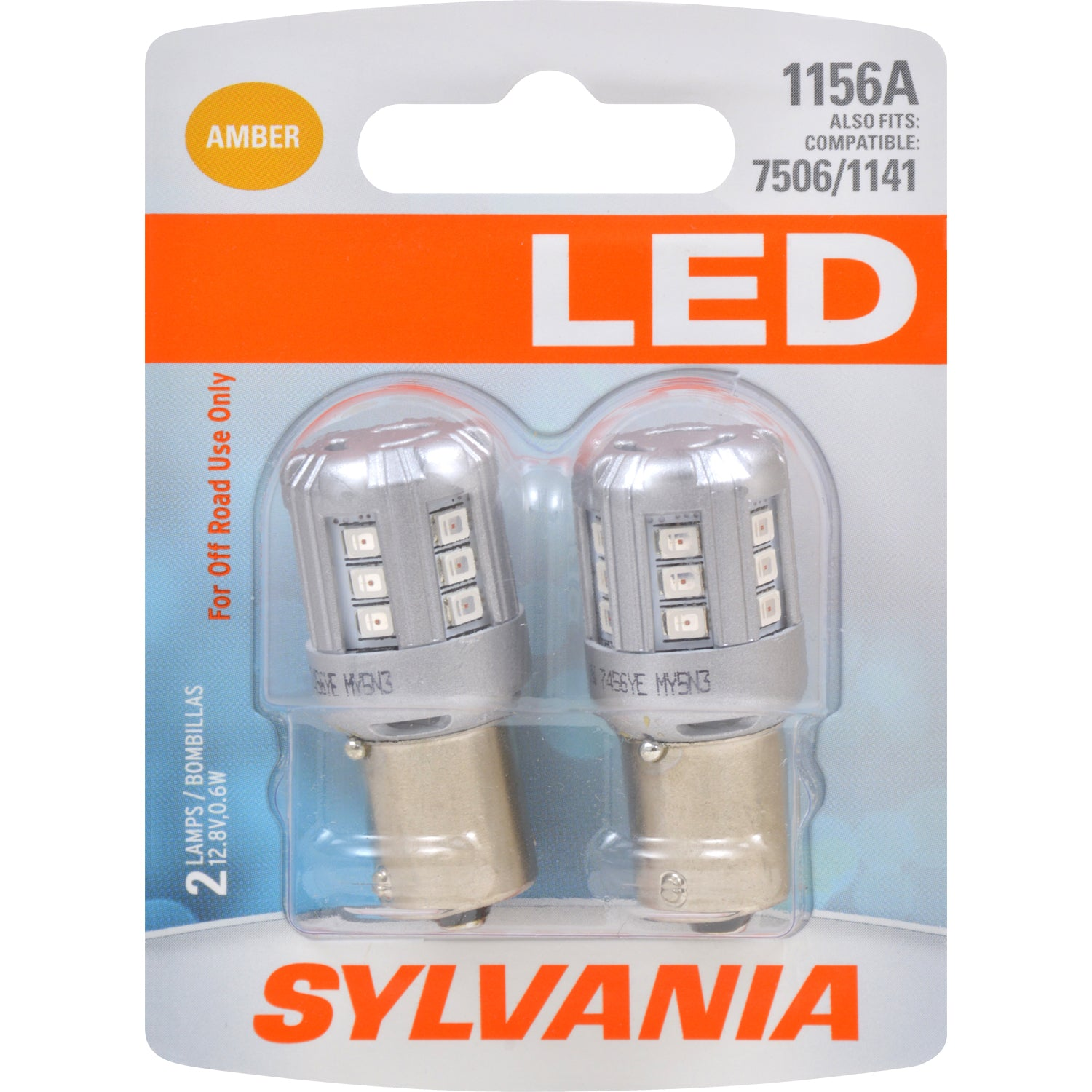 2-PK SYLVANIA LED 1156 Amber Automotive Bulb - also fits 7506 & 1141