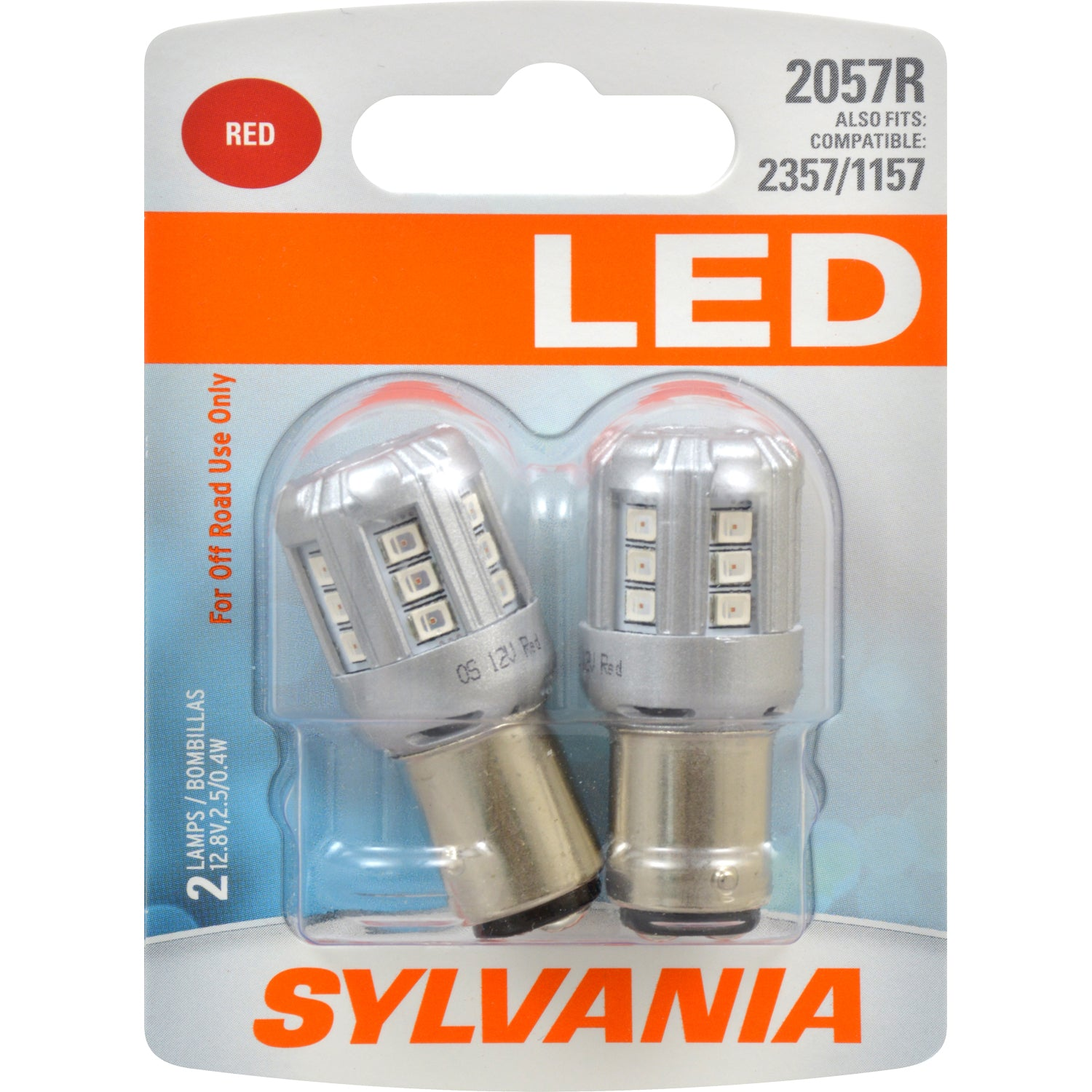 2-PK SYLVANIA 2057 Red LED Automotive Bulb