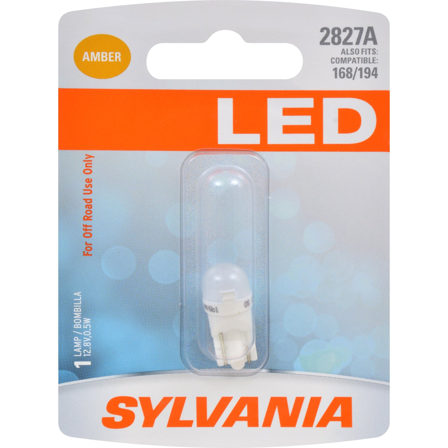 SYLVANIA 2827 T10 W5W Amber LED Automotive Bulb - also fits 168 & 194