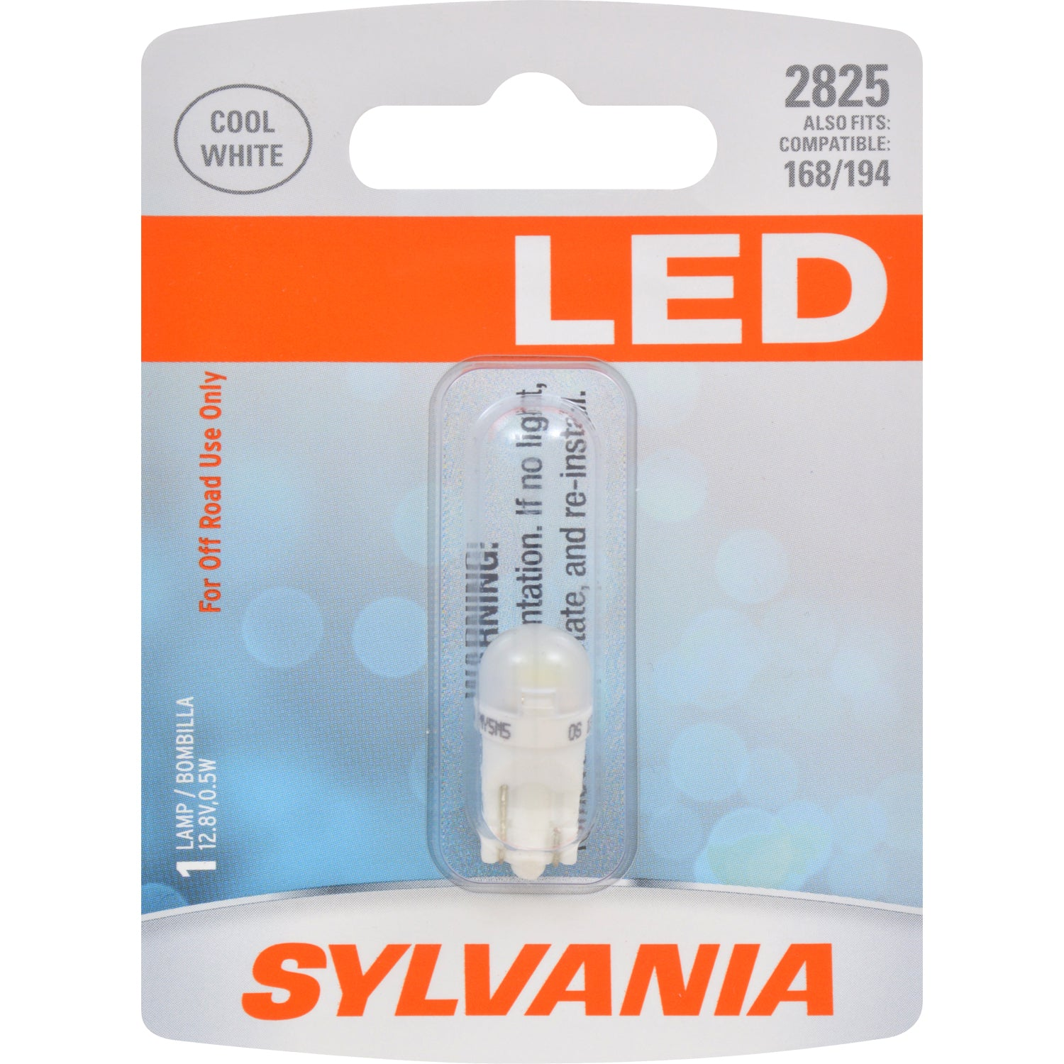 SYLVANIA 2825 LED W5W Cool White Automotive Bulb - also fits 168, 194