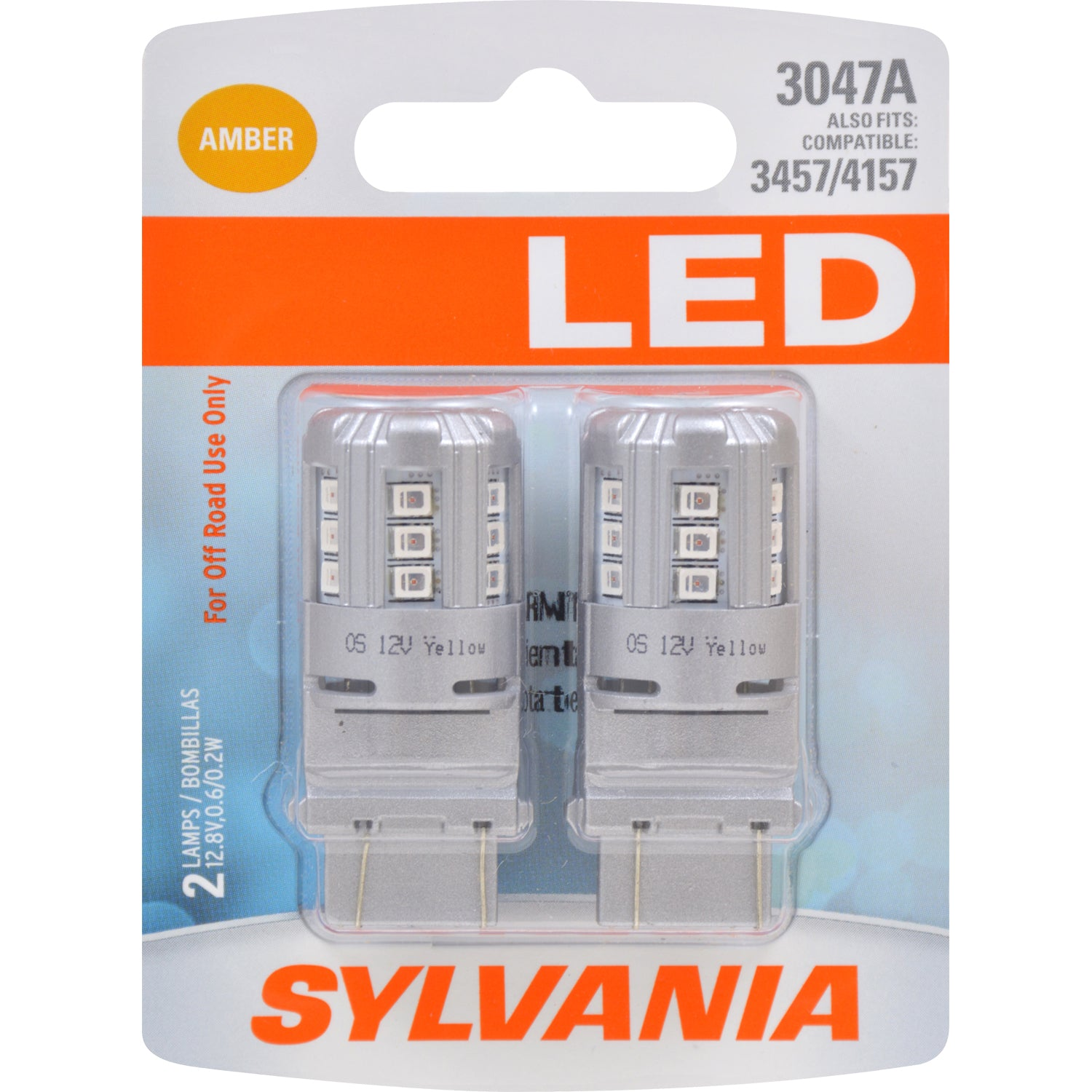 2-PK SYLVANIA 3047 Amber LED Automotive Bulb
