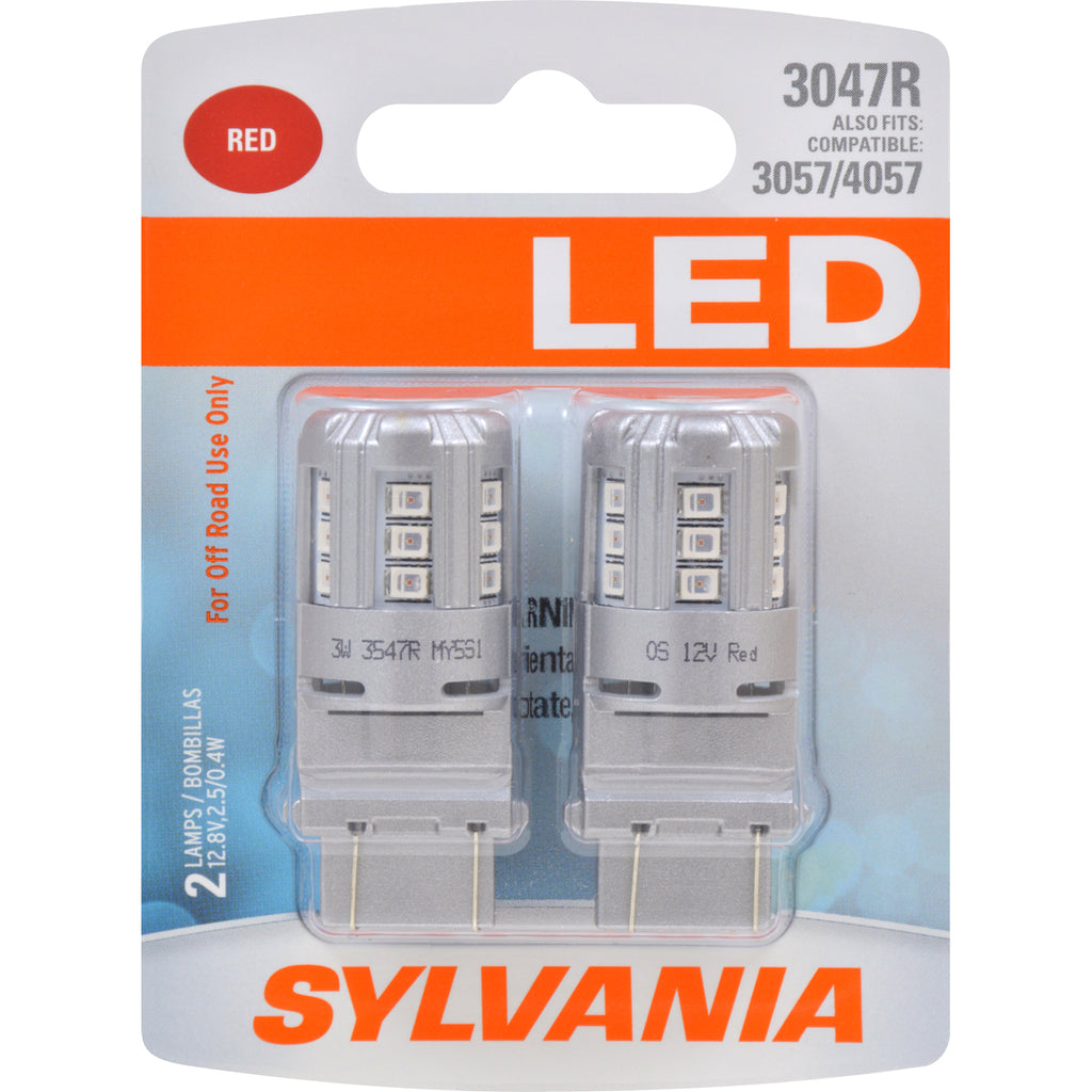 2-PK SYLVANIA 3047 Red LED Automotive Bulb