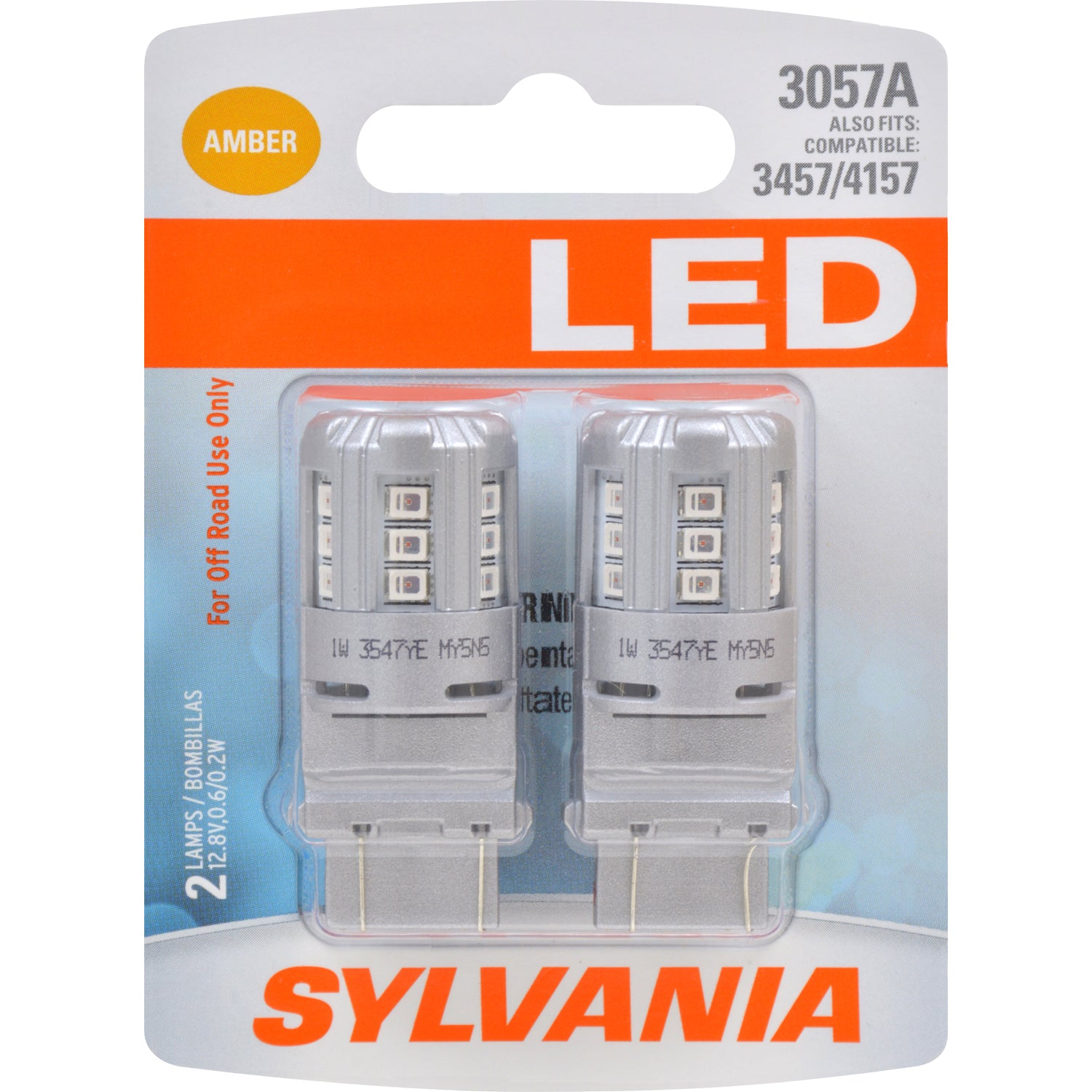2-PK SYLVANIA 3057 Amber LED Automotive Bulb