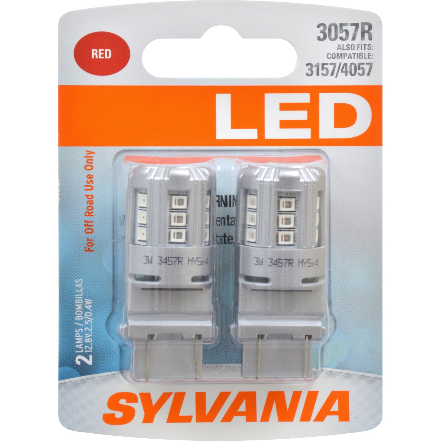 2-PK SYLVANIA 3057 Red LED Automotive Bulb
