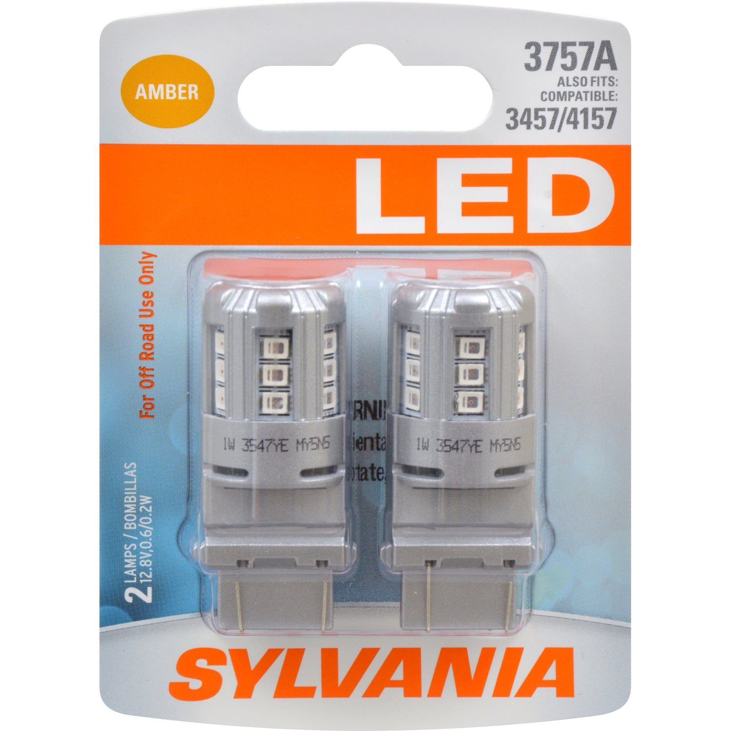 2-PK SYLVANIA 3757 PY27/7W Amber LED Automotive Bulb