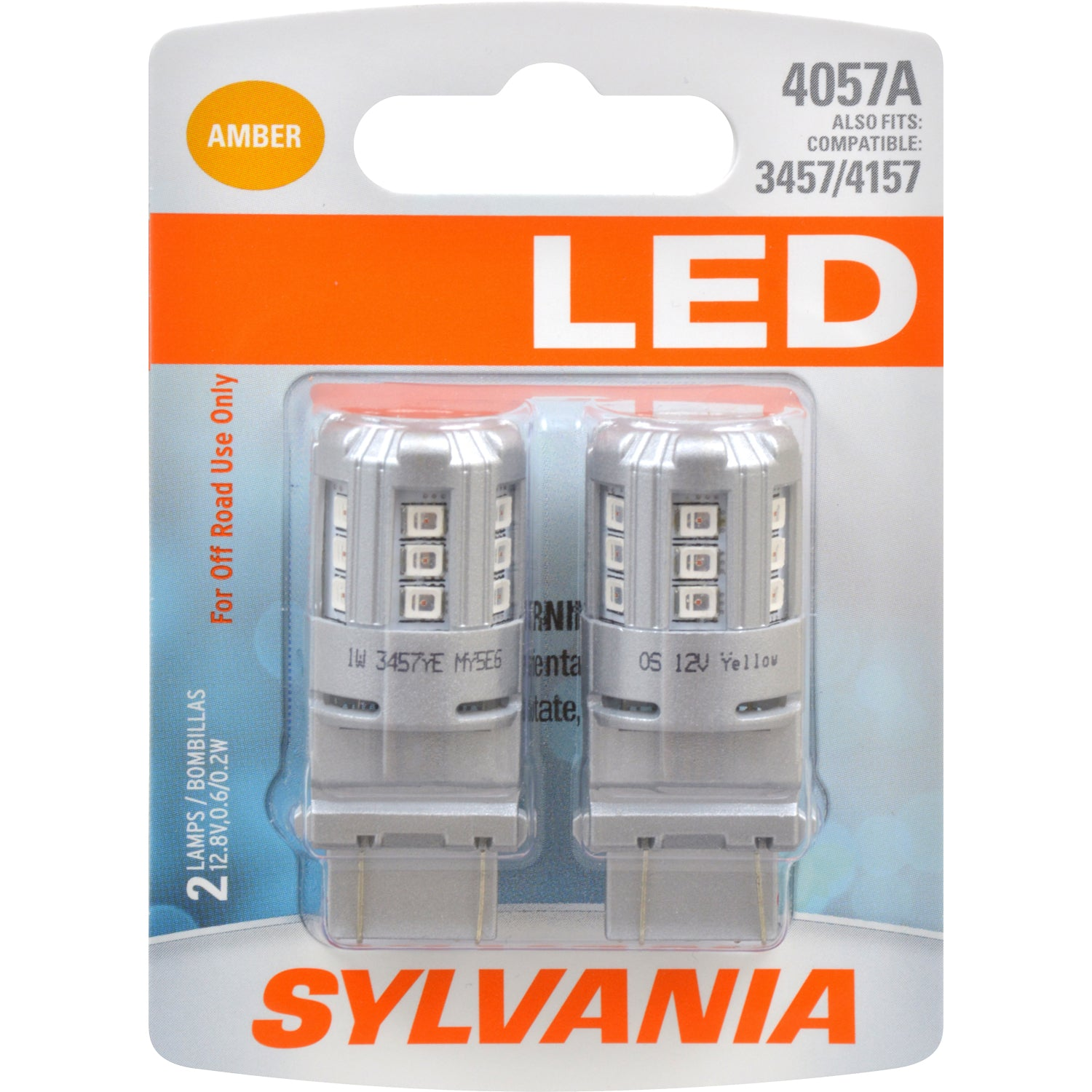 2-PK SYLVANIA 4057 Amber LED Automotive Bulb