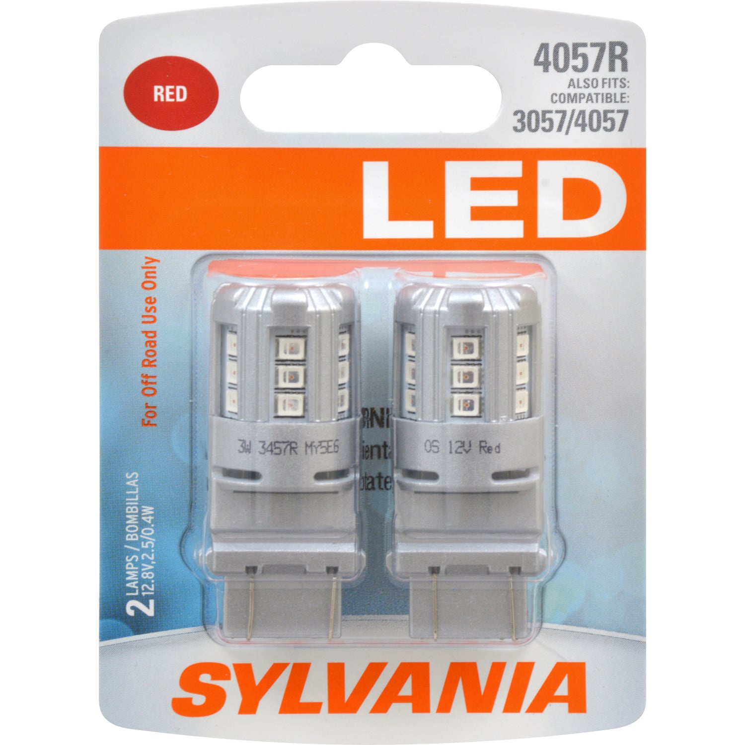 2-PK SYLVANIA 4057 Red LED Automotive Bulb