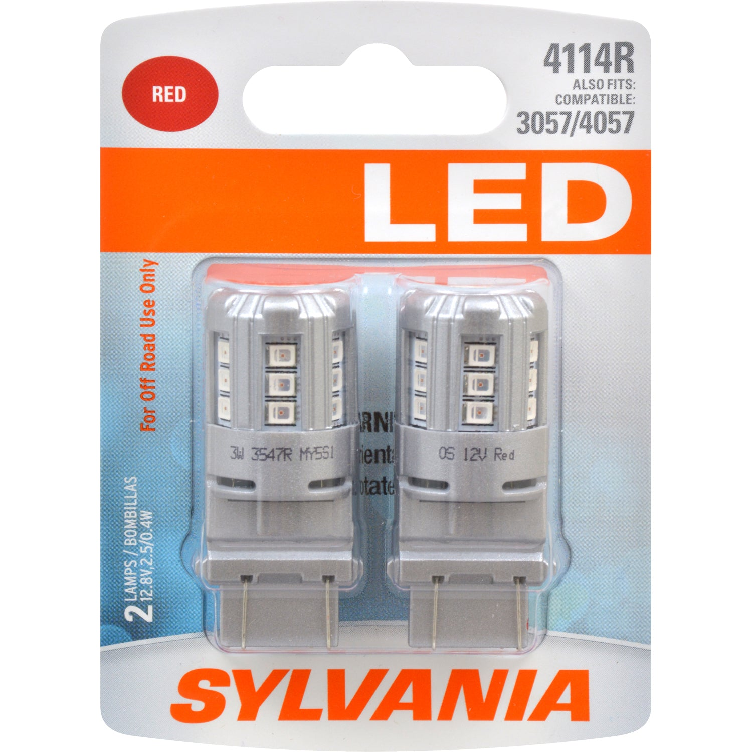 2-PK SYLVANIA 4114 Red LED Automotive Bulb