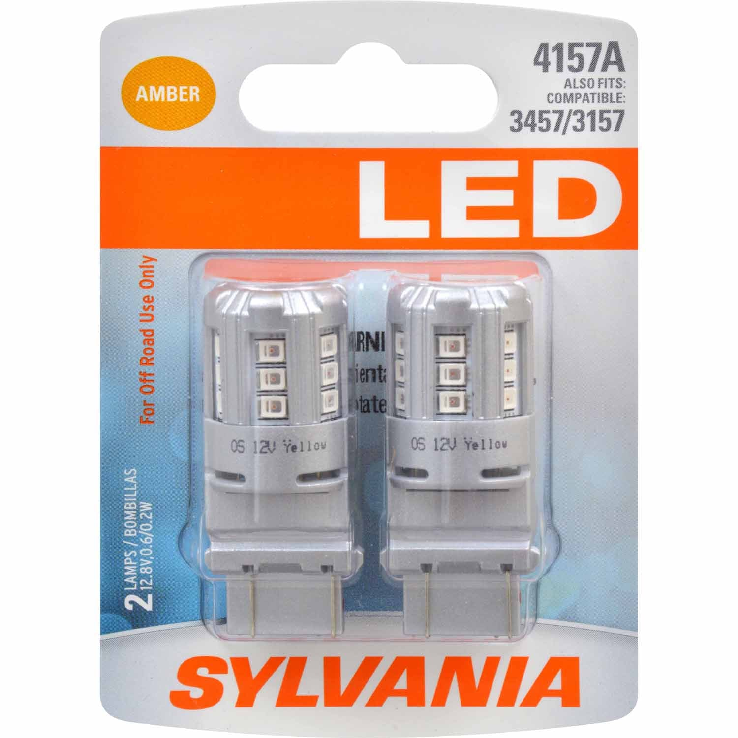 2-PK SYLVANIA 4157 Amber LED Automotive Bulb - also fits 3457 & 3157