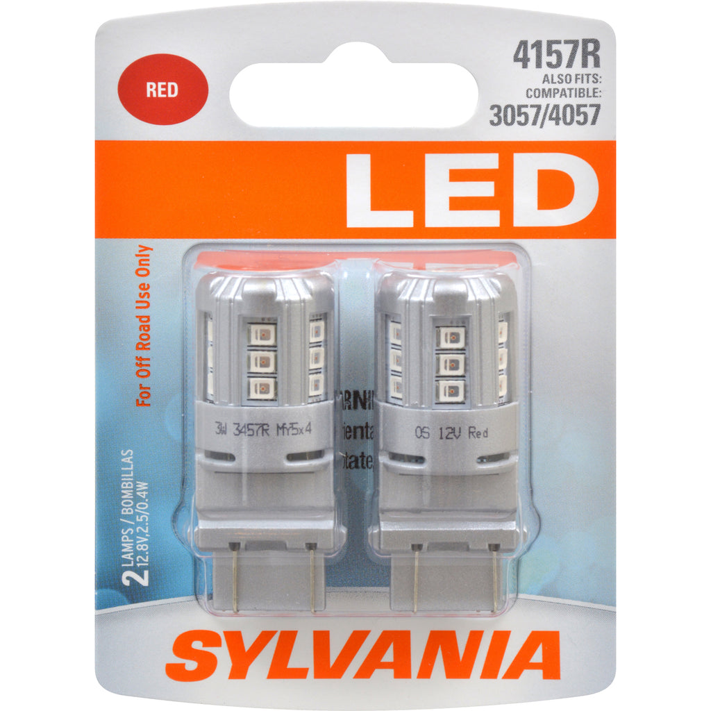 2-PK SYLVANIA 4157 Red LED Automotive Bulb