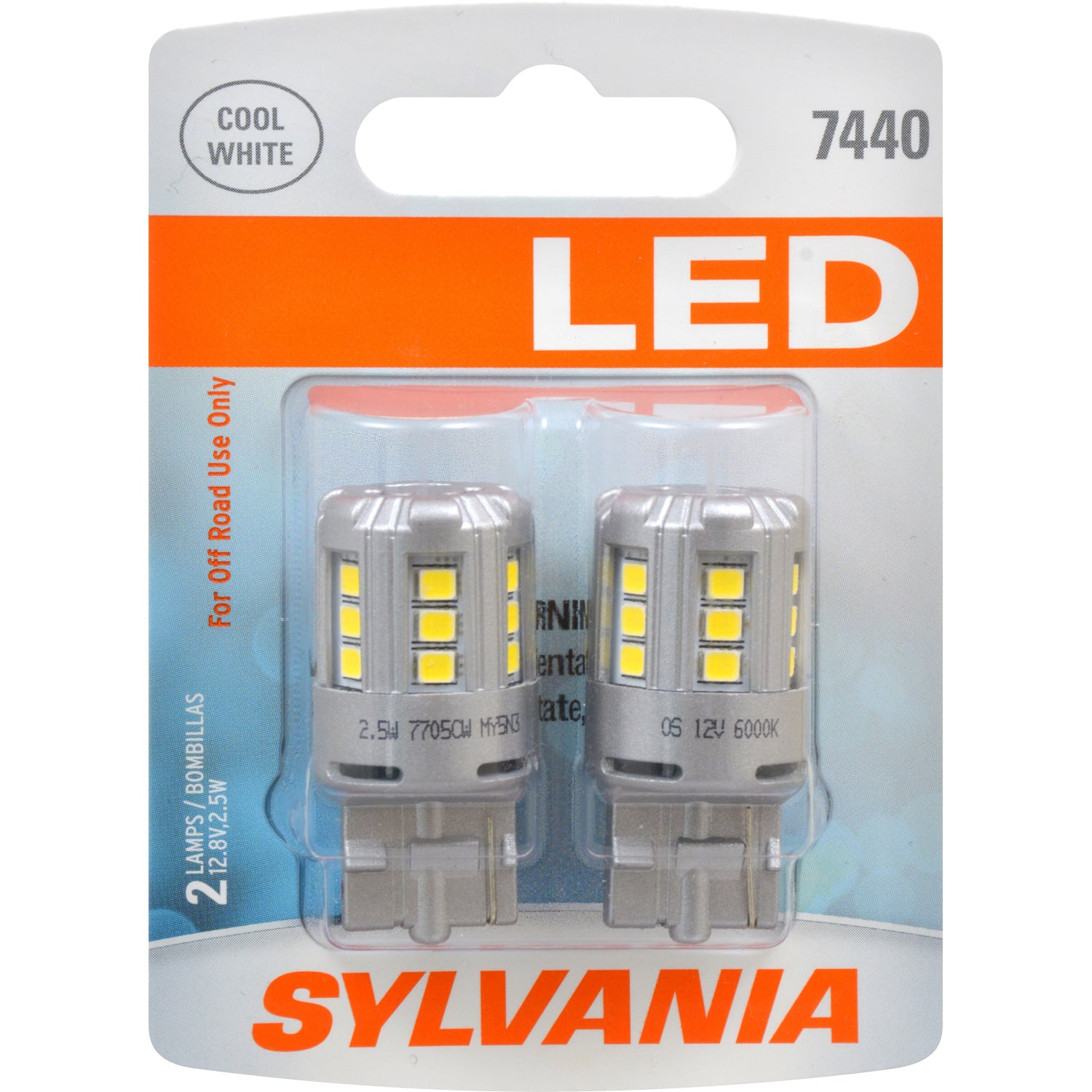 2-PK SYLVANIA 7440 T20 White LED Automotive Bulb