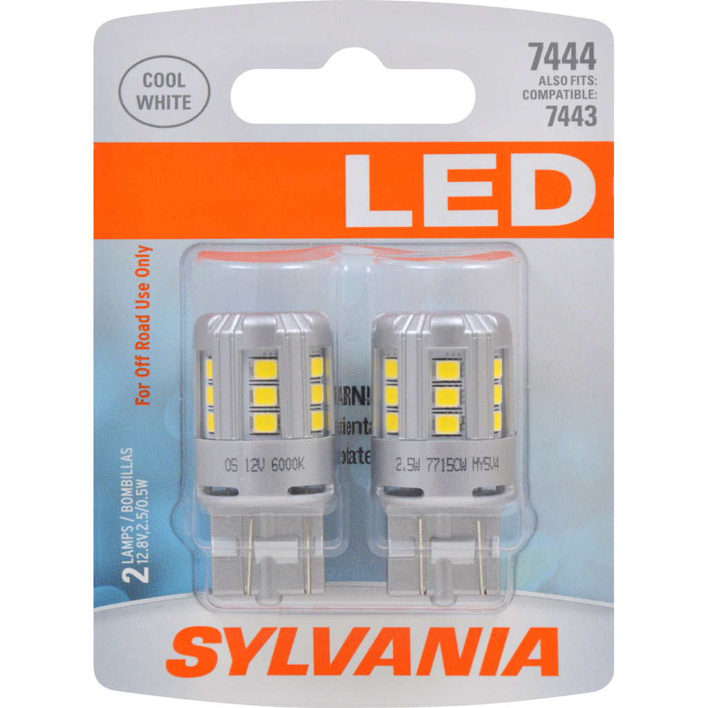 2-PK SYLVANIA 7444 T20 White LED Automotive Bulb