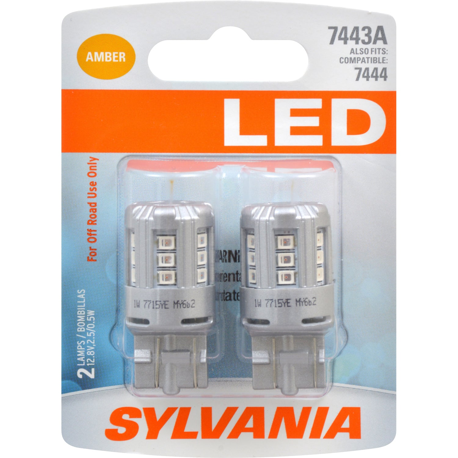 2-PK SYLVANIA 7443 T20 Amber LED Automotive Bulb