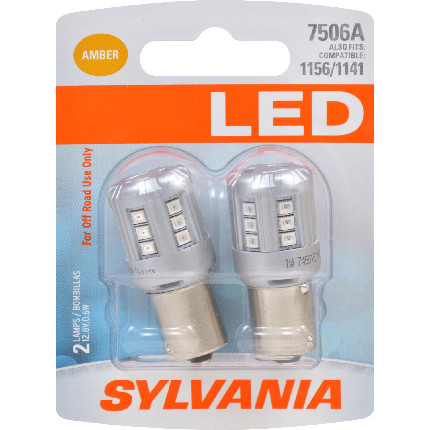 2-PK SYLVANIA 7506 Amber LED Automotive Bulb - fits 1156 and 1141