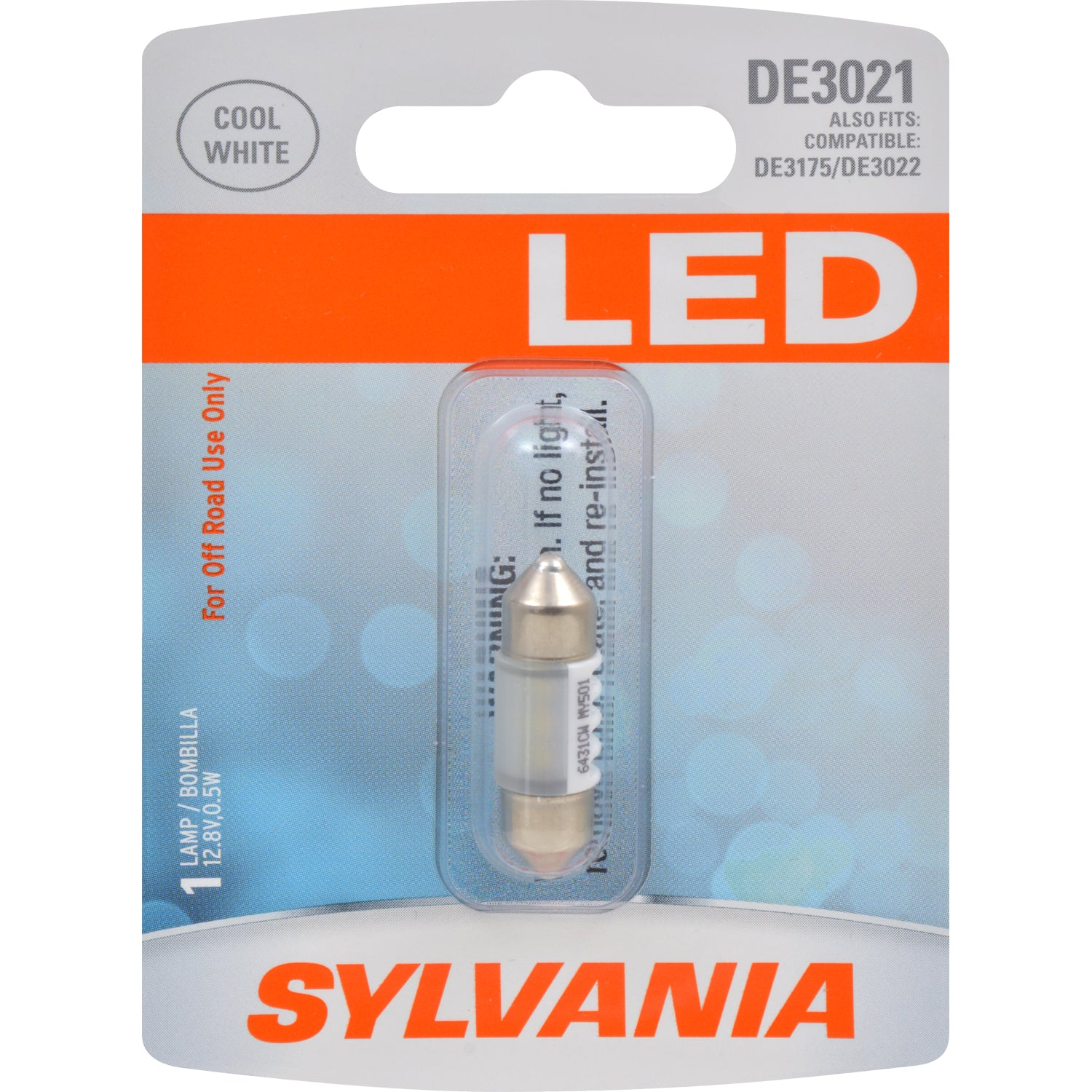 SYLVANIA DE3021 31mm Festoon Cool White LED Automotive Bulb - Fits DE3175 DE3022