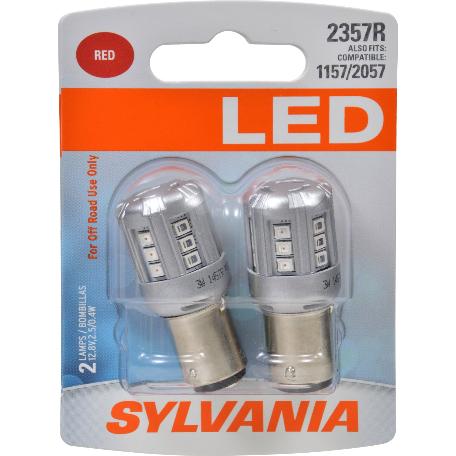 2-PK SYLVANIA 2357 Red LED Automotive Bulb - also fits 1157 & 2057