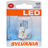 2-PK SYLVANIA 168 T10 W5W Red LED Automotive Bulb