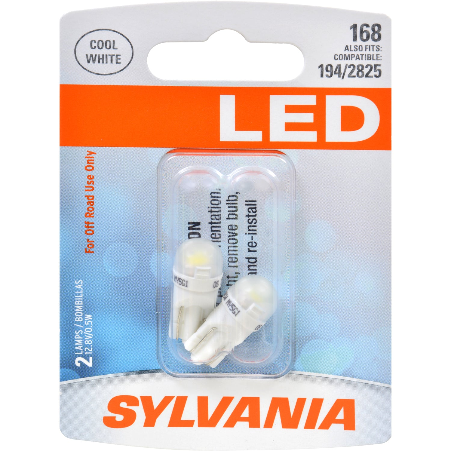 2-PK SYLVANIA LED 168 W5W 194 Cool White Automotive Bulb - also fits 194 & 2825