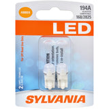 2-PK SYLVANIA 194 T10 W5W Amber LED Automotive Bulb