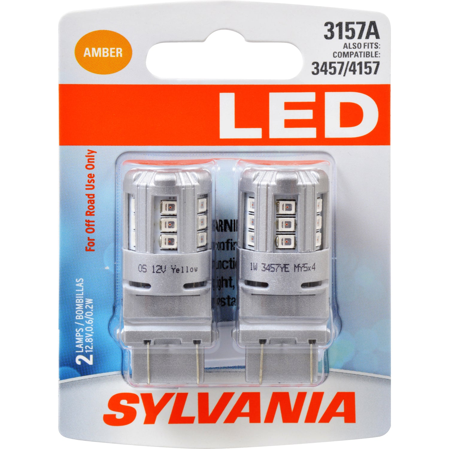 2-PK SYLVANIA 3157 Amber LED Automotive Bulb