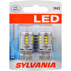 2-PK SYLVANIA 7443 T20 White LED Automotive Bulb