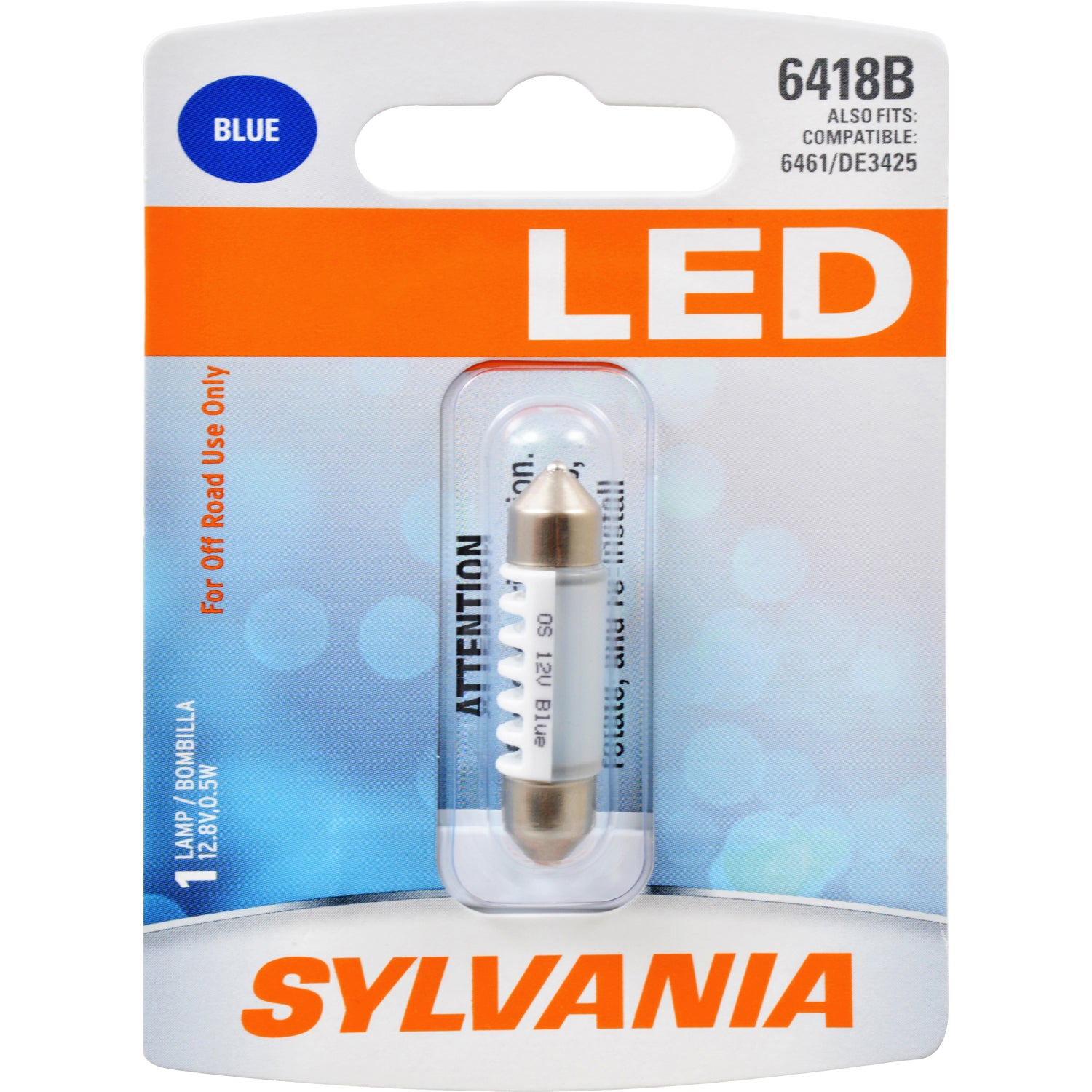 SYLVANIA 6418 36mm Festoon Blue LED Automotive Bulb