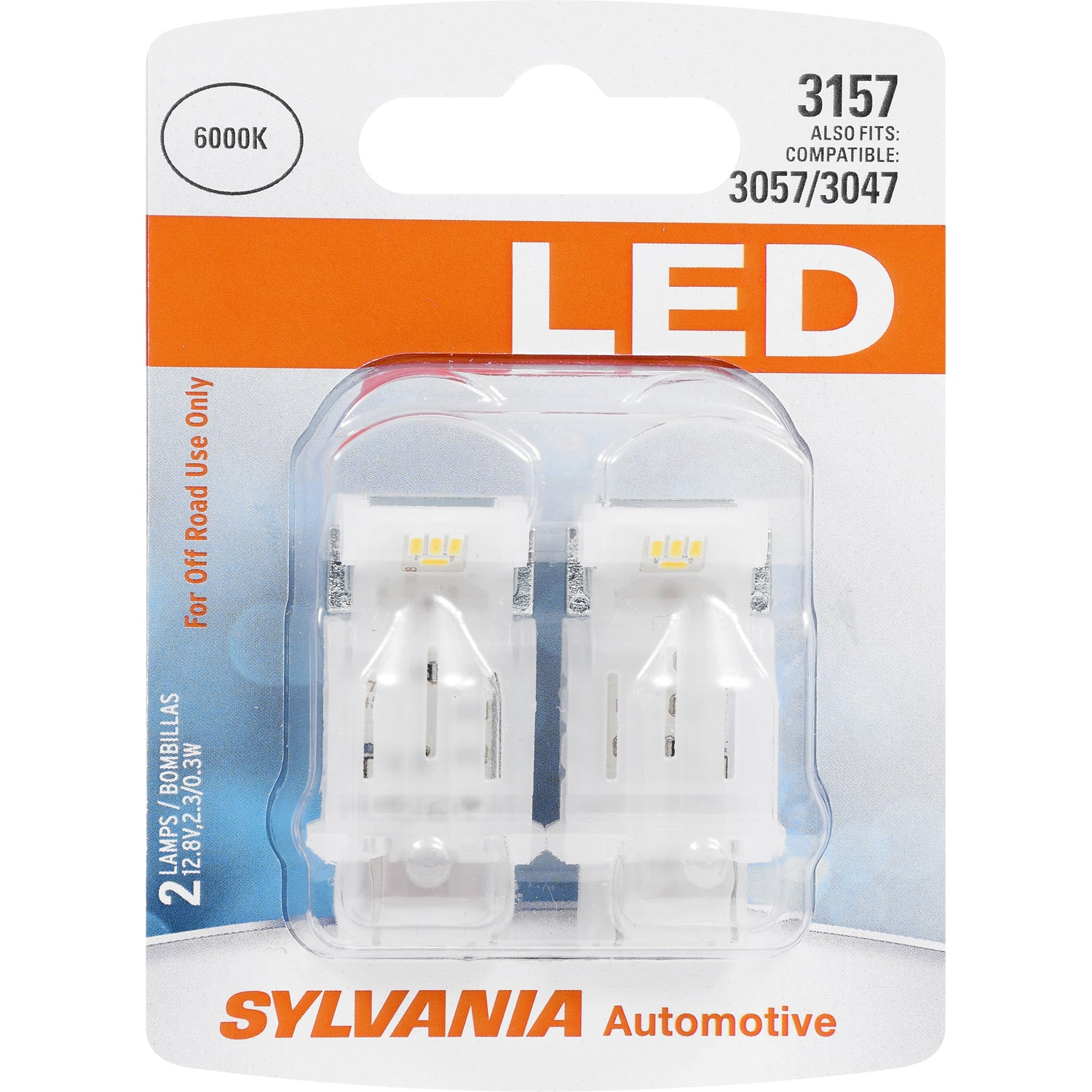 2-PK SYLVANIA 3157 White LED Automotive Bulb