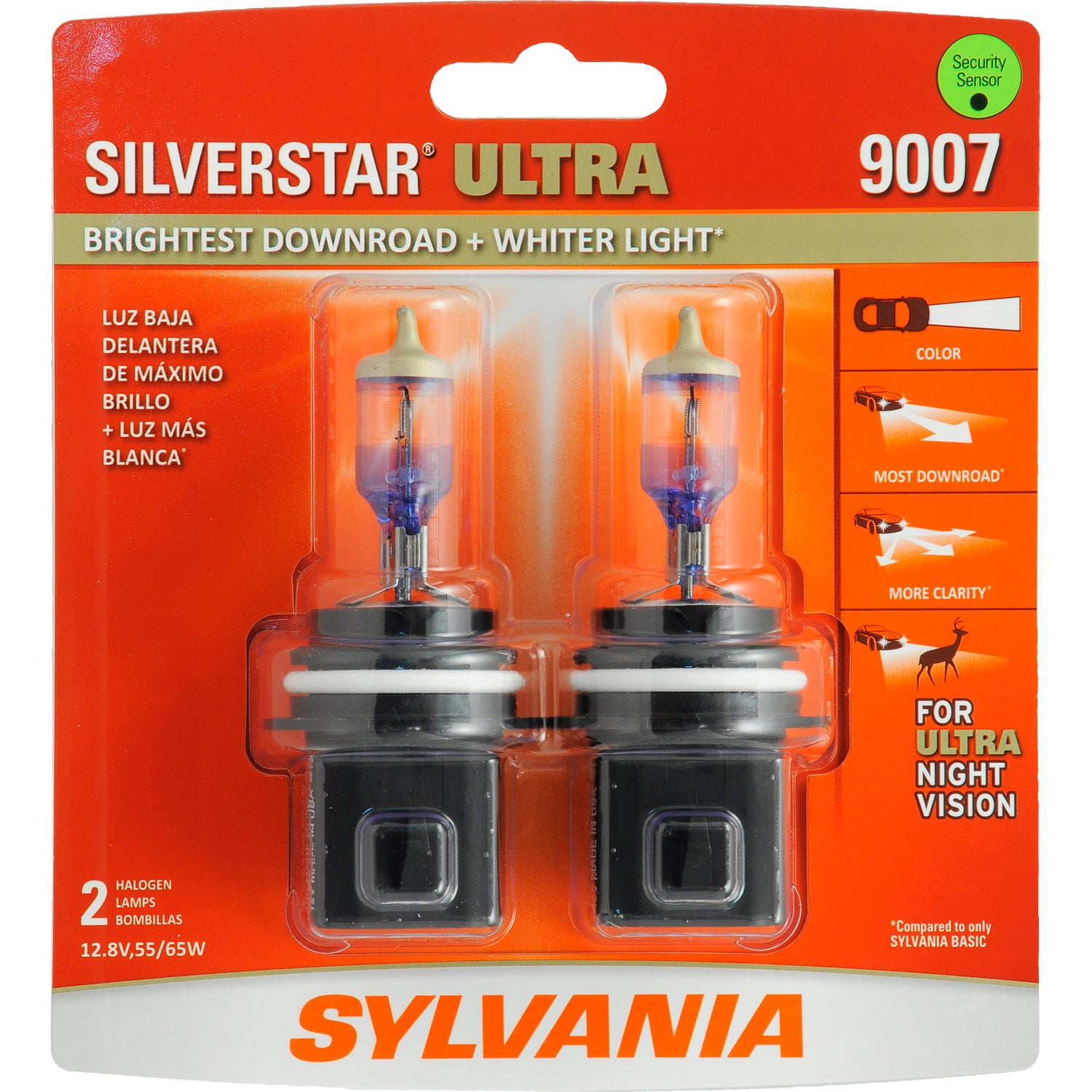 2-PK SYLVANIA 9007 SilverStar Ultra High Performance Halogen Headlight Bulb