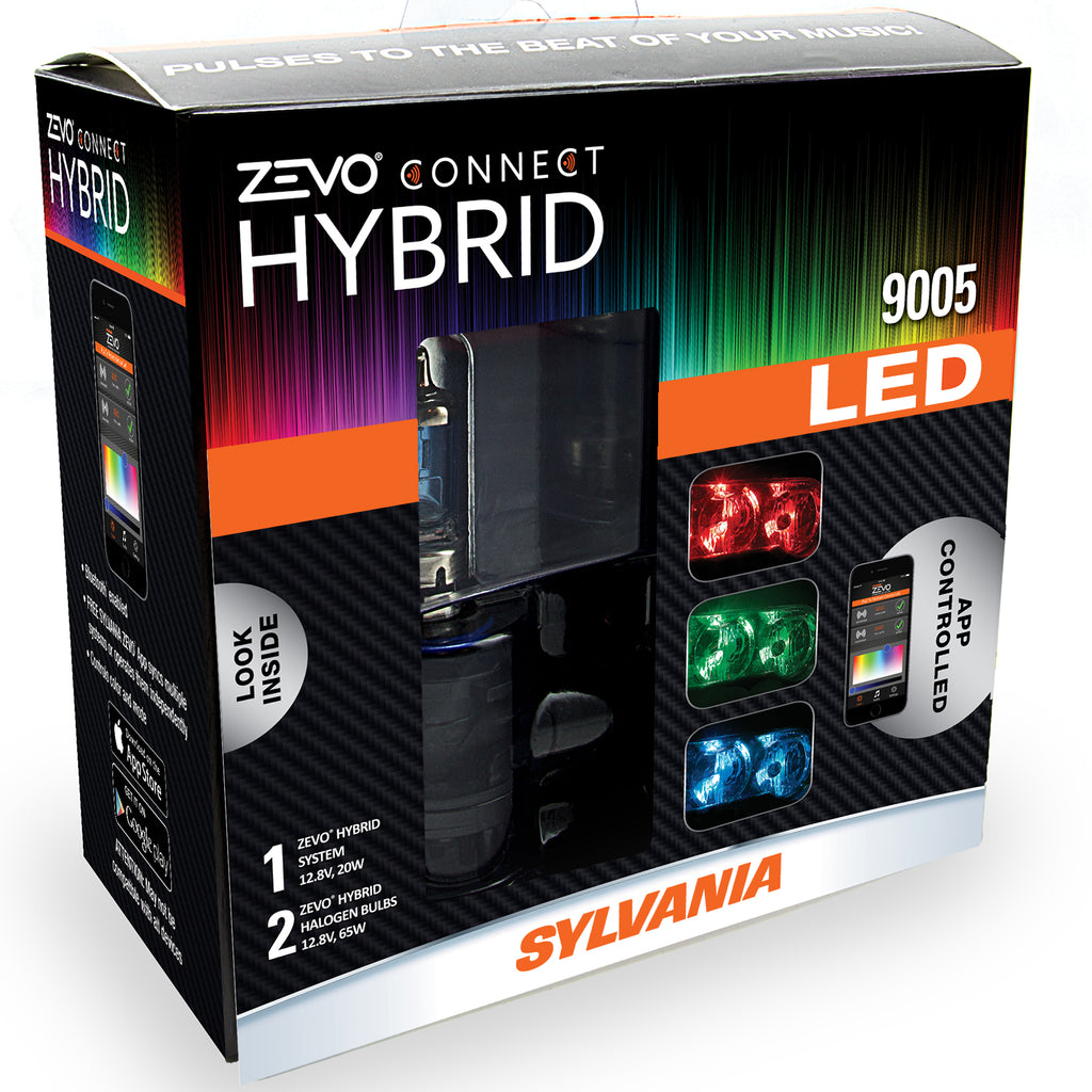 2-PK SYLVANIA 9005 ZEVO Connect Hybrid LED Color Changing System for Headlights