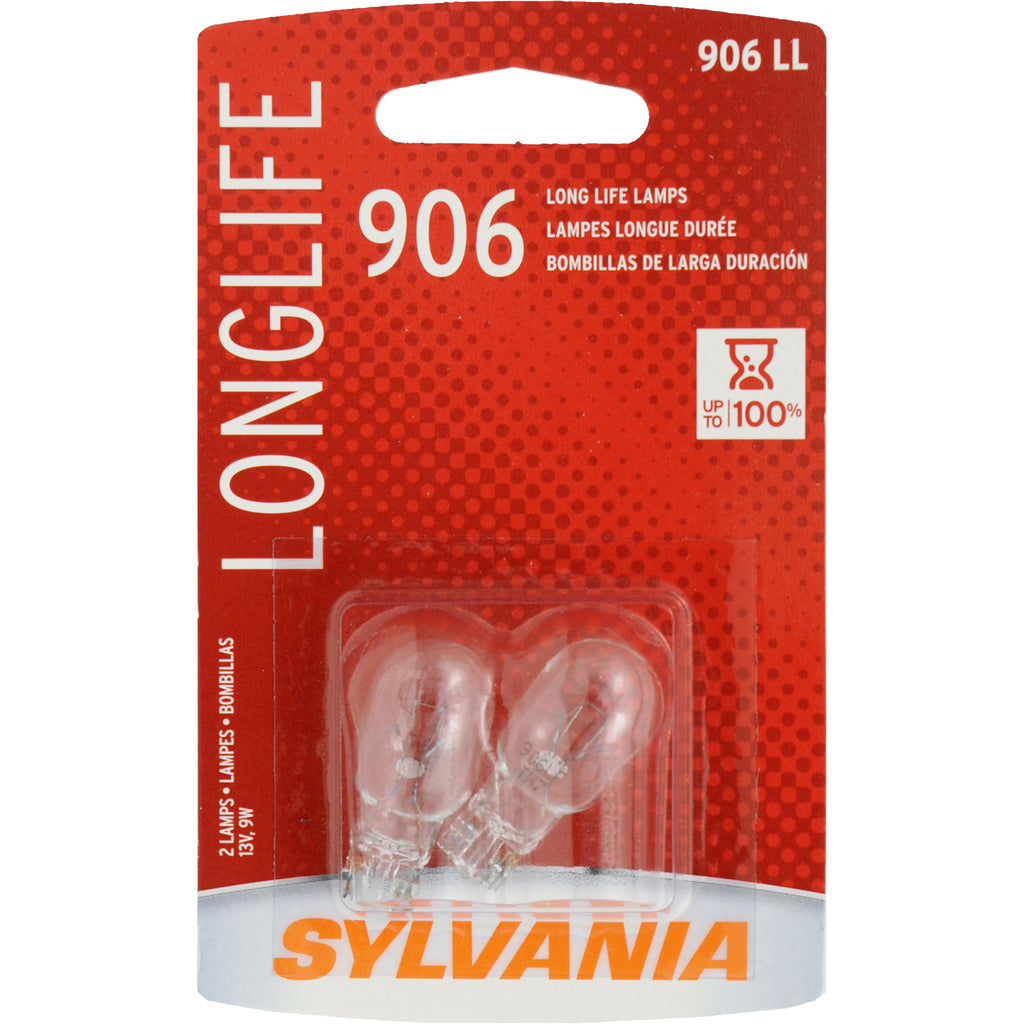 2-PK SYLVANIA 906 Long Life Automotive Light Bulb