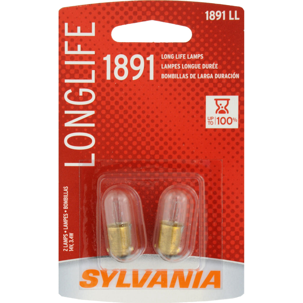 2-PK SYLVANIA 1891 Long Life Automotive Light Bulb