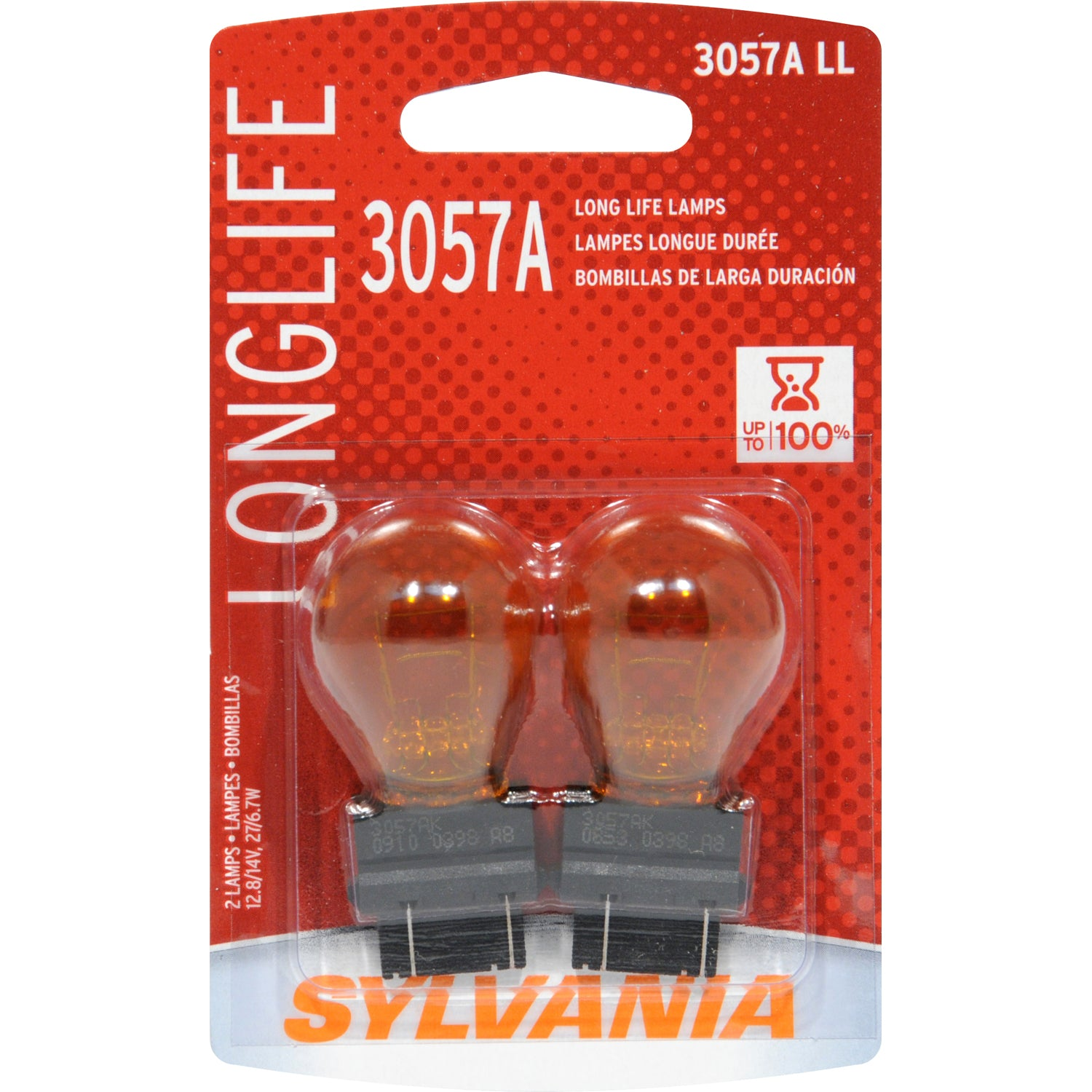 2-PK SYLVANIA 3057A Miniature Incandescent Long Life Bulb