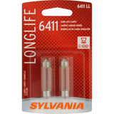 2-PK SYLVANIA 6411 Long Life Automotive Light Bulb