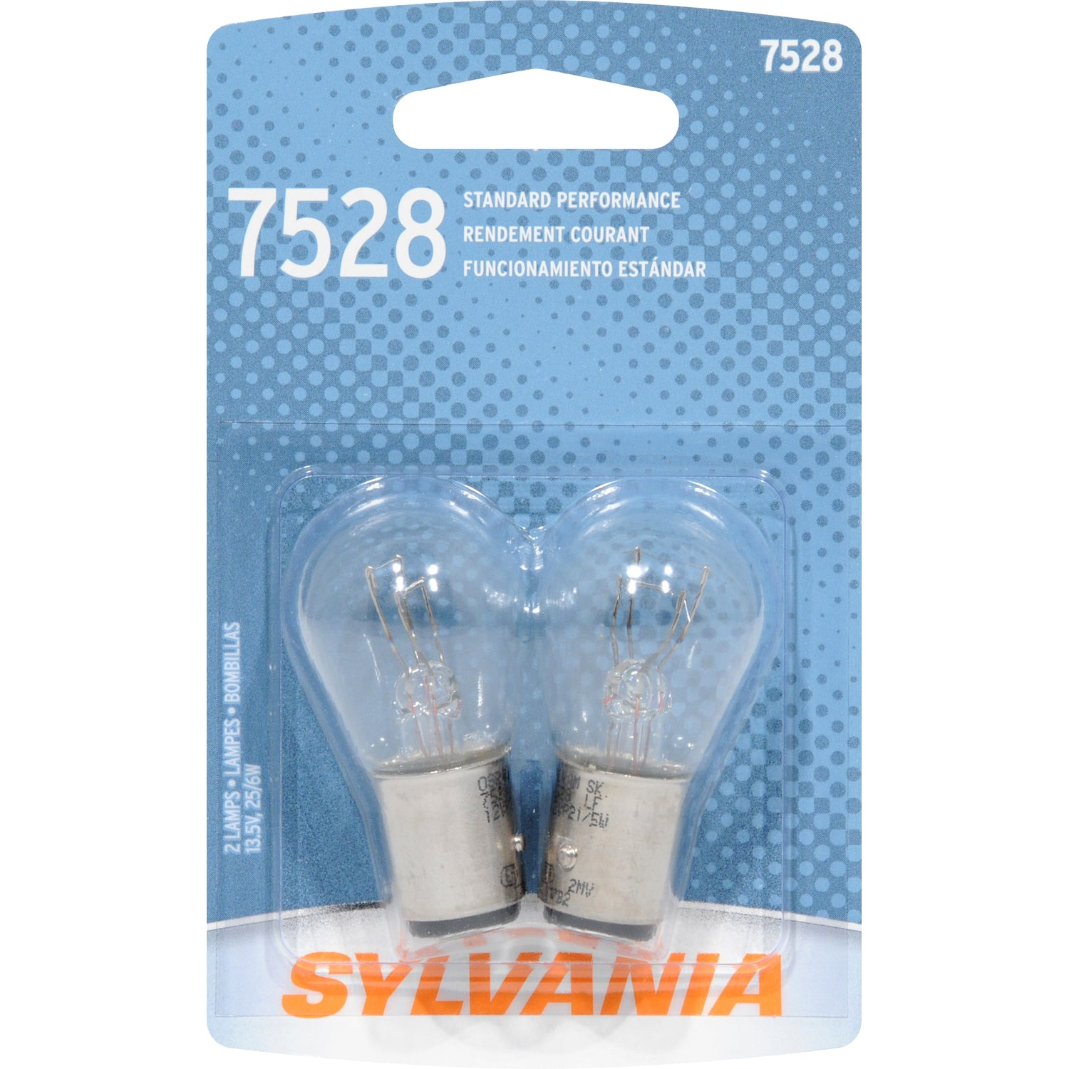 2-PK SYLVANIA 7528 P21/5W Basic Automotive Light Bulb