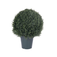 "20"" Artificial Pond Cypress UV Resistant Ball Shape Topiary 1138 Leaves 9"" Pot"