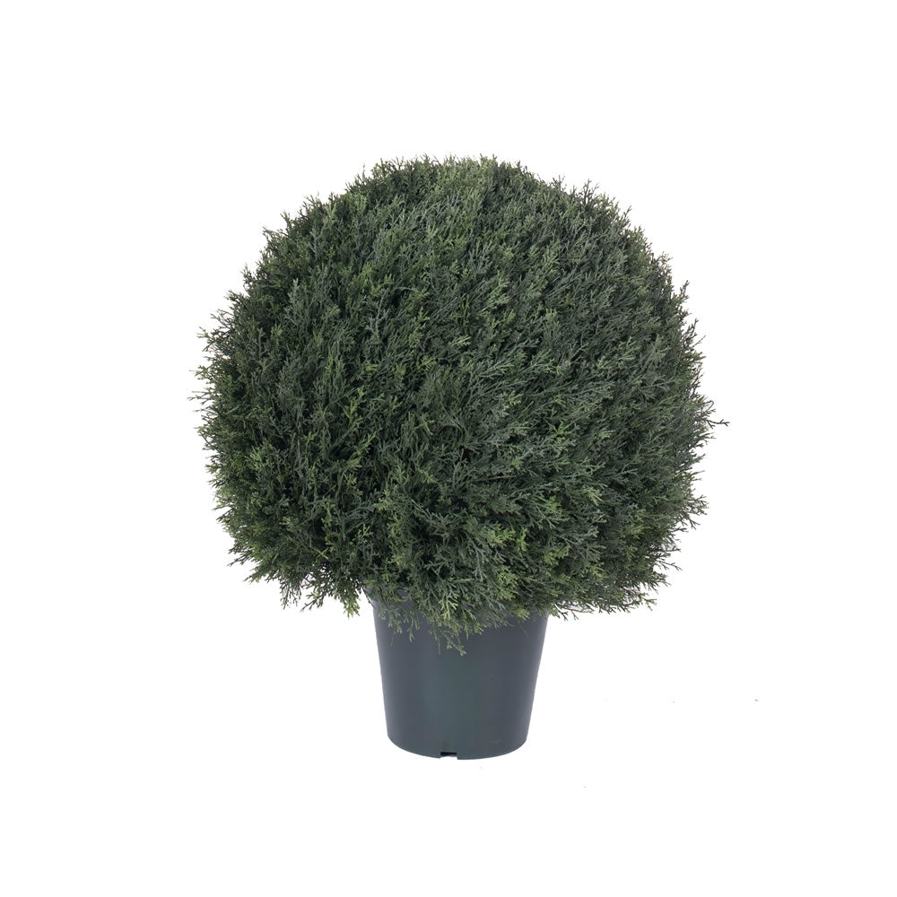 "24"" Artificial Pond Cypress UV Resistant Ball Shape Topiary 1302 Leaves 9"" Pot"