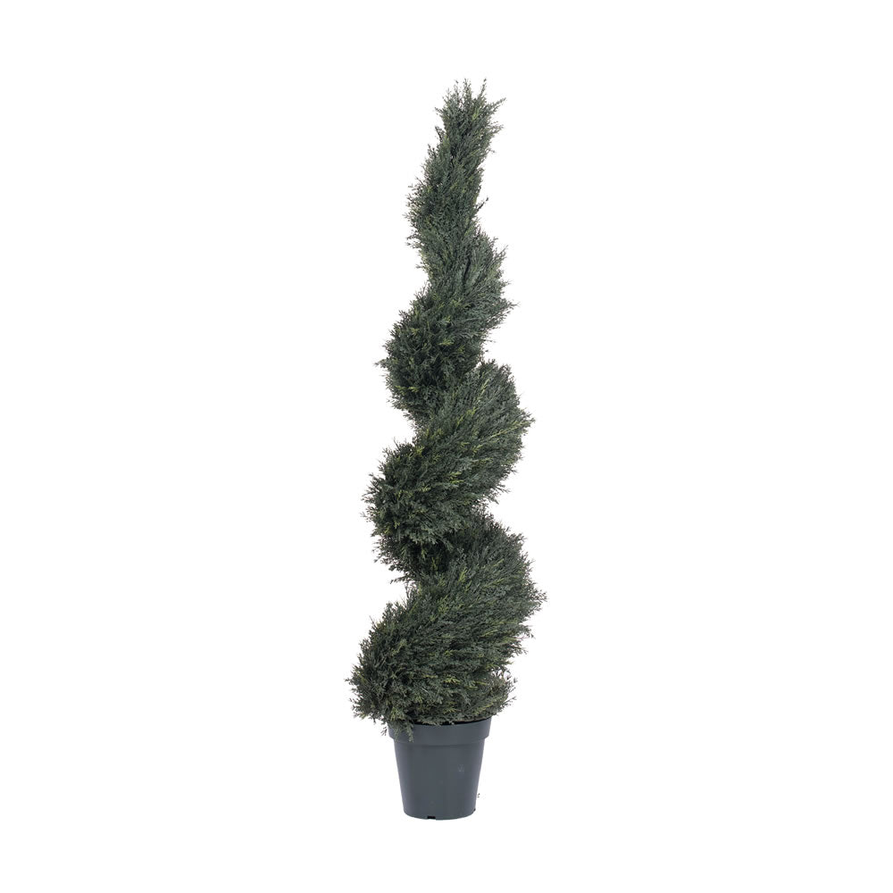 "63"" Artificial Pond Cypress Spiral, UV Resistant with 2856 Leaves in 9"" Pot"