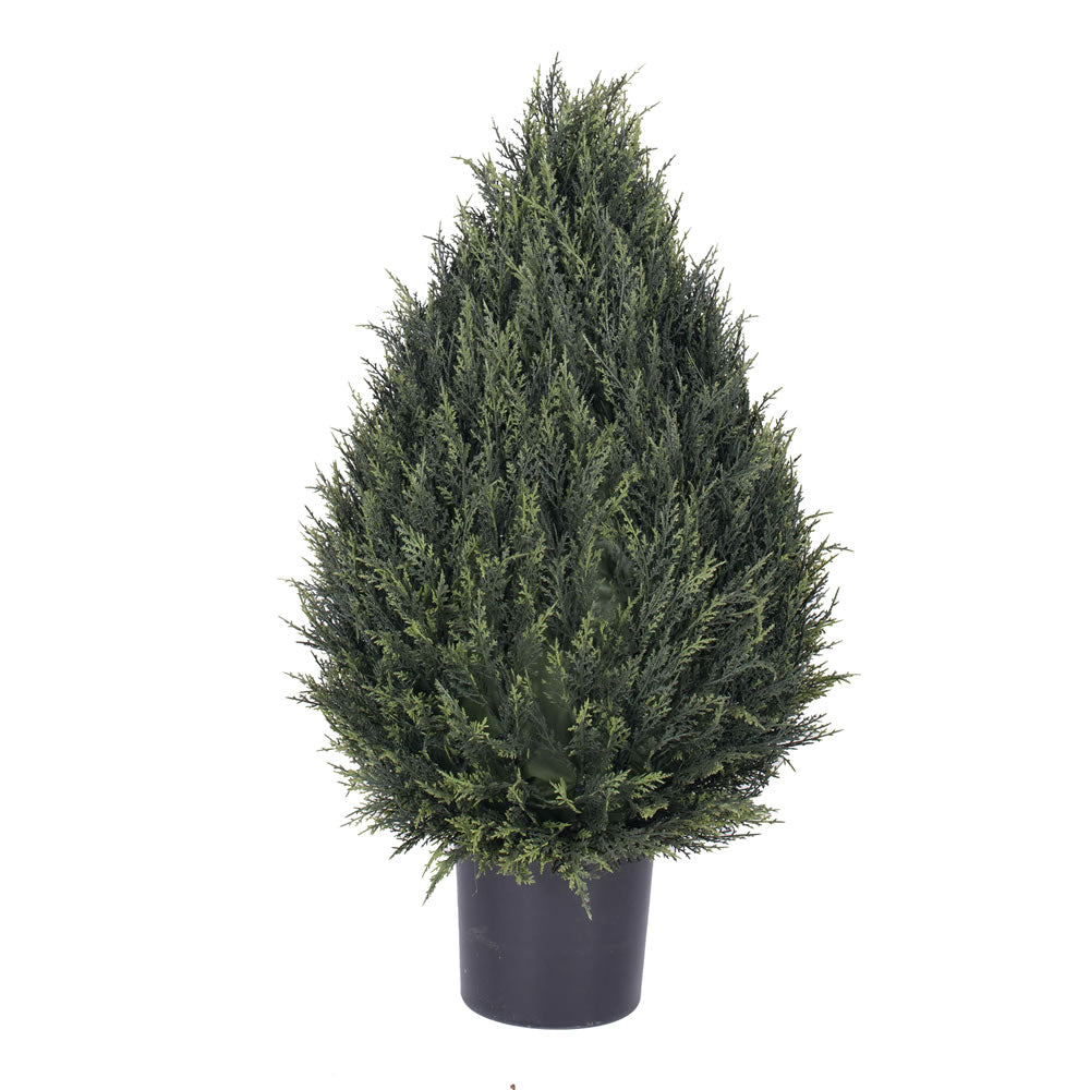 "36"" Artificial Cedar Pine Cone UV Resist Topiary 820 LVS Iron Frame Fixed In Pot"
