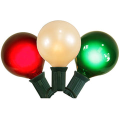 15 Satin Red / White / Green G50 Lights 15Ft. E12 Green Wire Christmas Set