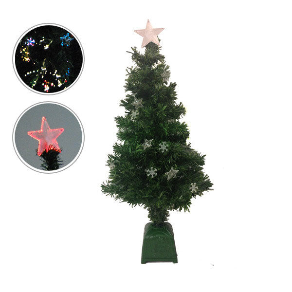 Holiday Essence V/4423 3FT 12 Stars Canadian Pine Multi-Color Lit Fiber Optic Christmas Tree